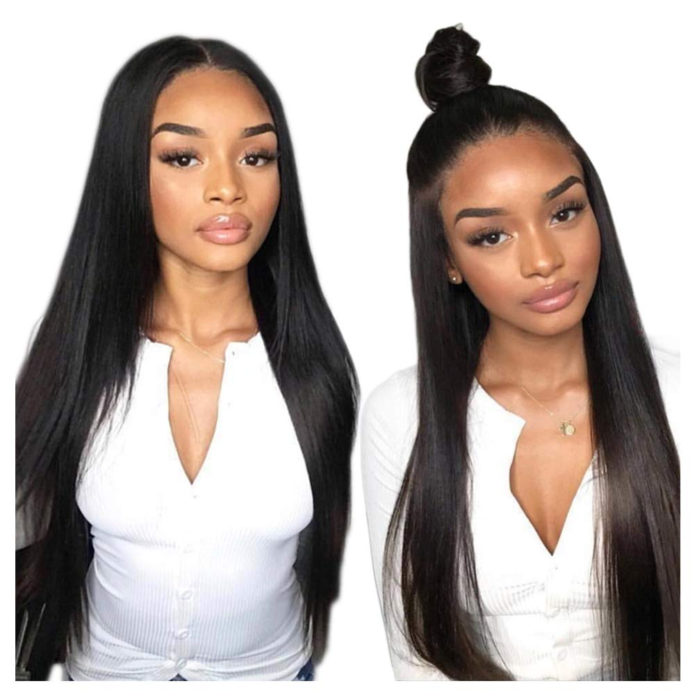 Frontal Wigs Human Hair, VIPbeauty 130% Density Virgin Brazilian Straight Human Hair Lace Front Wigs for Black Women Glueless Lace Frontal Wig Pre Plucked with Baby Hair(20 Inch, Nature Color)