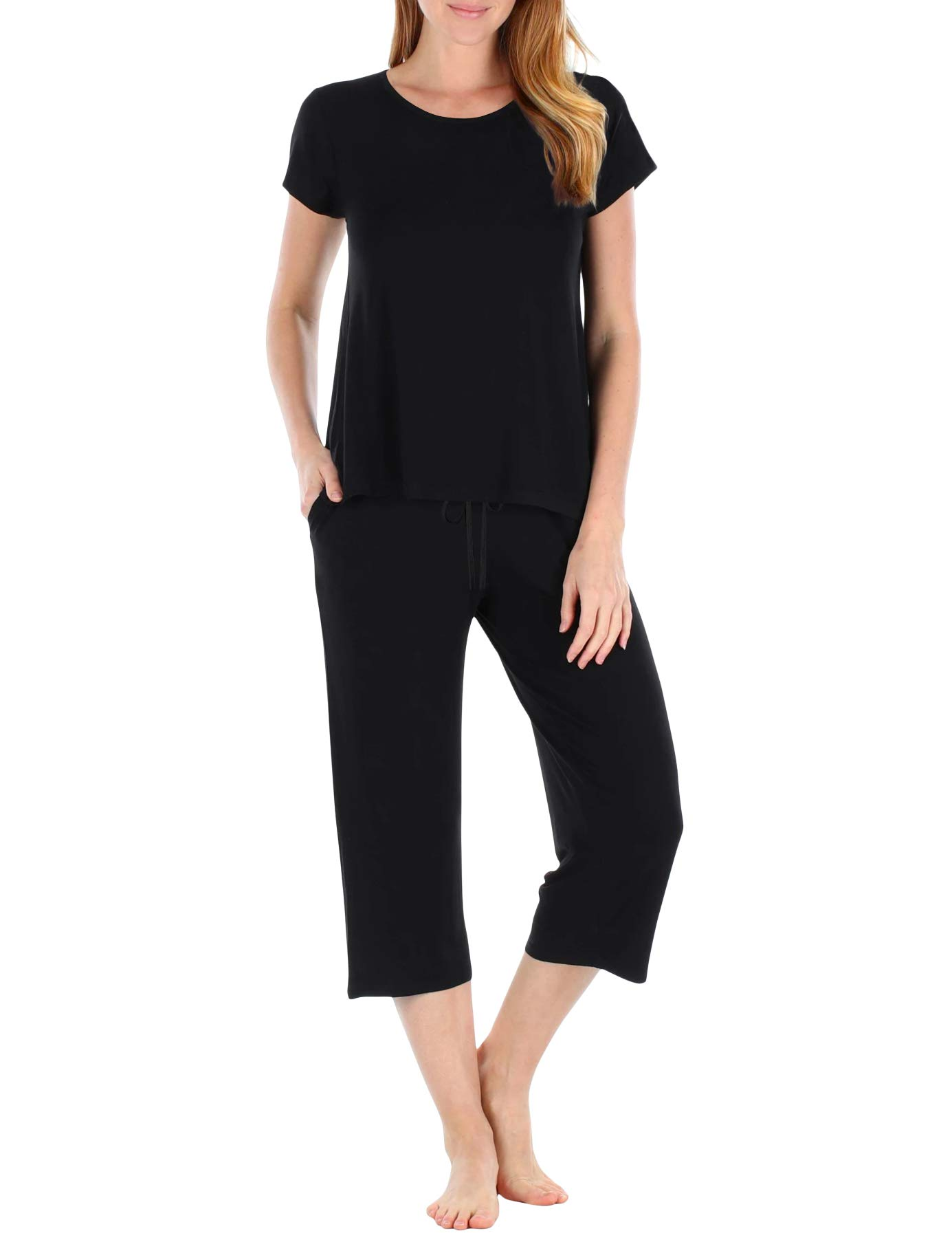 TAIPOVE Women's Soft Pajamas Set Capri Pants and Short Sleeve 2-Piece Pjs Sleepwear Sets Nightwear Lounge Summer