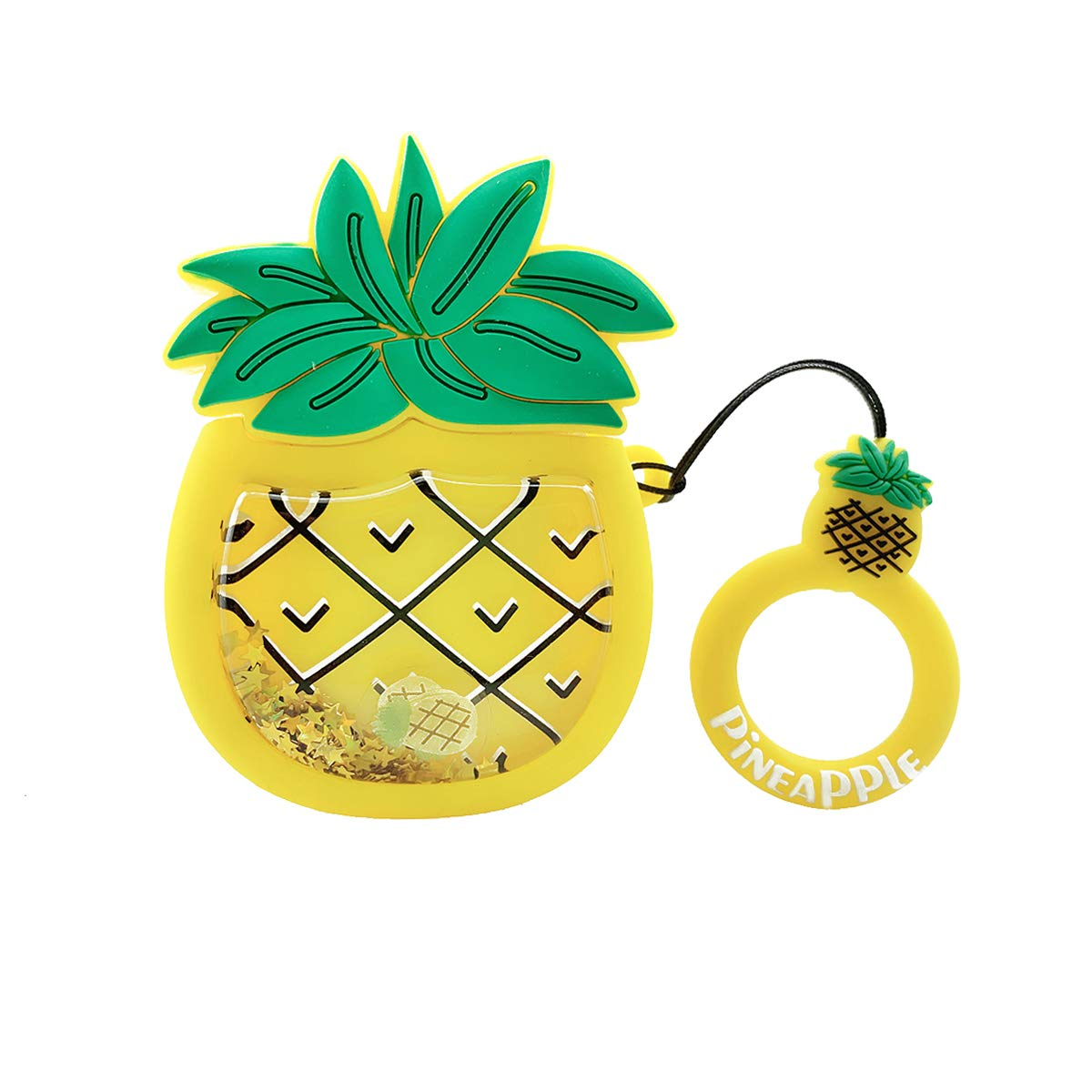 MOLOVA Case for Airpods 1&2,Silicone 3D Cute Funny Bling Glitter Cartoon Kawaii Fruit Airpods Cover Shock Proof Compatiable with Wireless Charging Case with Ring Rope Keychain(Quicksand Pineapple)