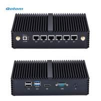 Qotom Barebone Mini PC Q535G6 Core i3-7100U Processor 6 Intel Gigabit LAN to Build Advanced Firewall Router