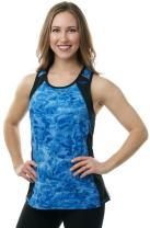 Aqua Design Womens Racerback Workout Tank Top, Royal Ripple/Black, Size Small