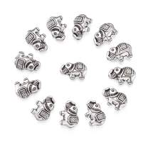 Craftdady 20Pcs Antique Silver Metal Lucky Elephant Spacer Charm Beads 8.5x12mm Tibetan Detailed Carved Lead Free & Nickel Free Animal Beads for DIY Jewelry Craft Making