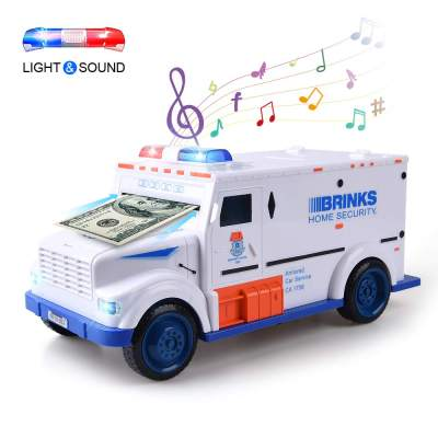 Xrexs Electronic Piggy Banks Cool Armored Car Bank With Password Music Best Kids Early Learning Educational Toys For Toddlers Auto Scroll Cash Coin Bank For Adults Batteries Not Included