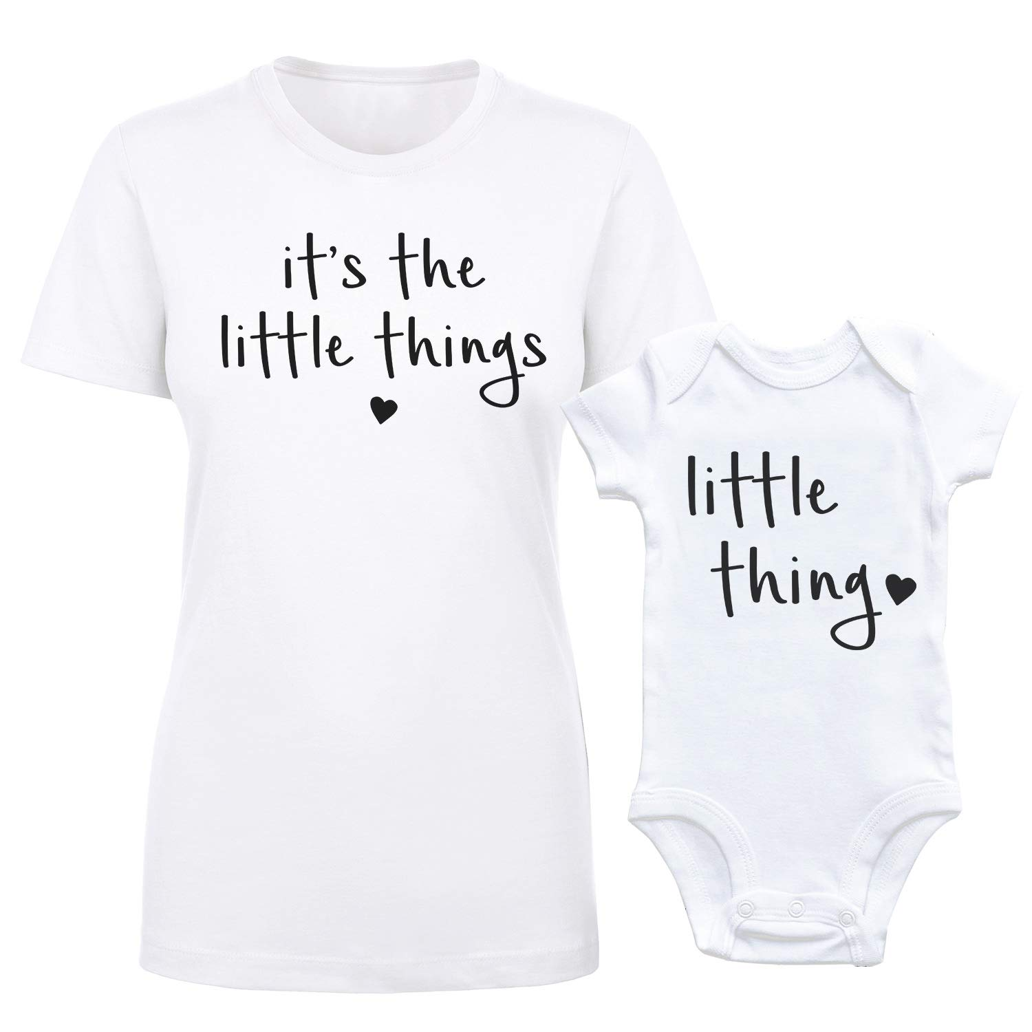 GOMOYO It's The Little Things Baby Onesie and Matching Mom or Dad T-Shirt (Medium - Women's, White - 3 Month)