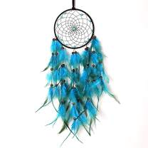 MoonFly Dream Catchers Handmade Traditional Feather Hanging Home Wall Decoration Décor Ornament Craft Native American Style (Blue Feather)