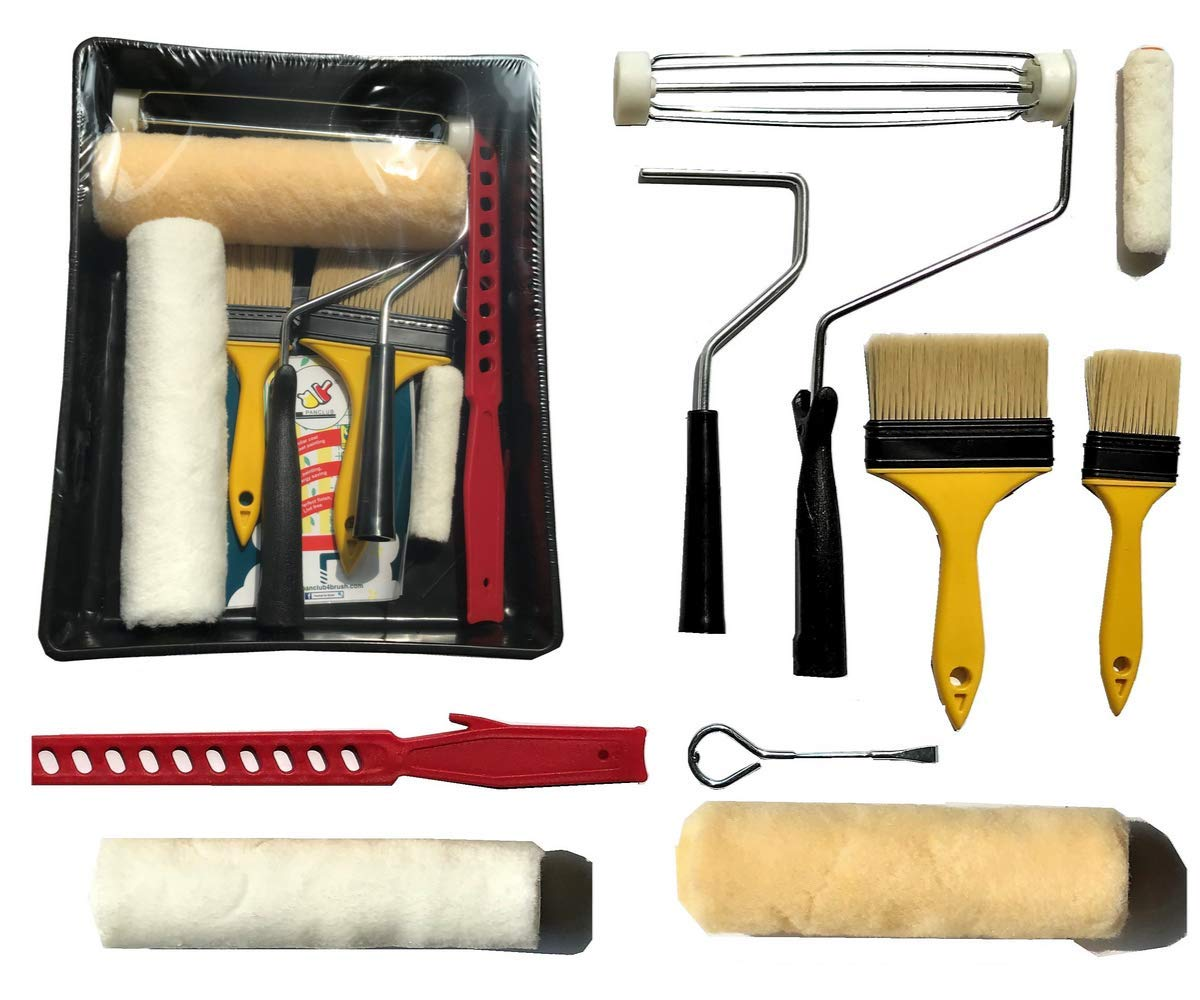PANCLUB Paint Roller Kit   10 Piece Professional Paint Roller Set   9 inch and 4 inch Roller Cover Set, Sturdy Bristles Chip Paint Brushes, Paint Stick, Plastic Paint Tray, Paint Can Opener