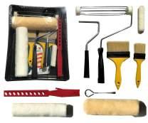PANCLUB Paint Roller Kit | 10 Piece Professional Paint Roller Set | 9 inch and 4 inch Roller Cover Set, Sturdy Bristles Chip Paint Brushes, Paint Stick, Plastic Paint Tray, Paint Can Opener