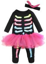 FANCYINN Baby Skeleton Costume Christmas Outfits & Bone Skull Tulle Skirt Romper Toddler Costumes 2pcs