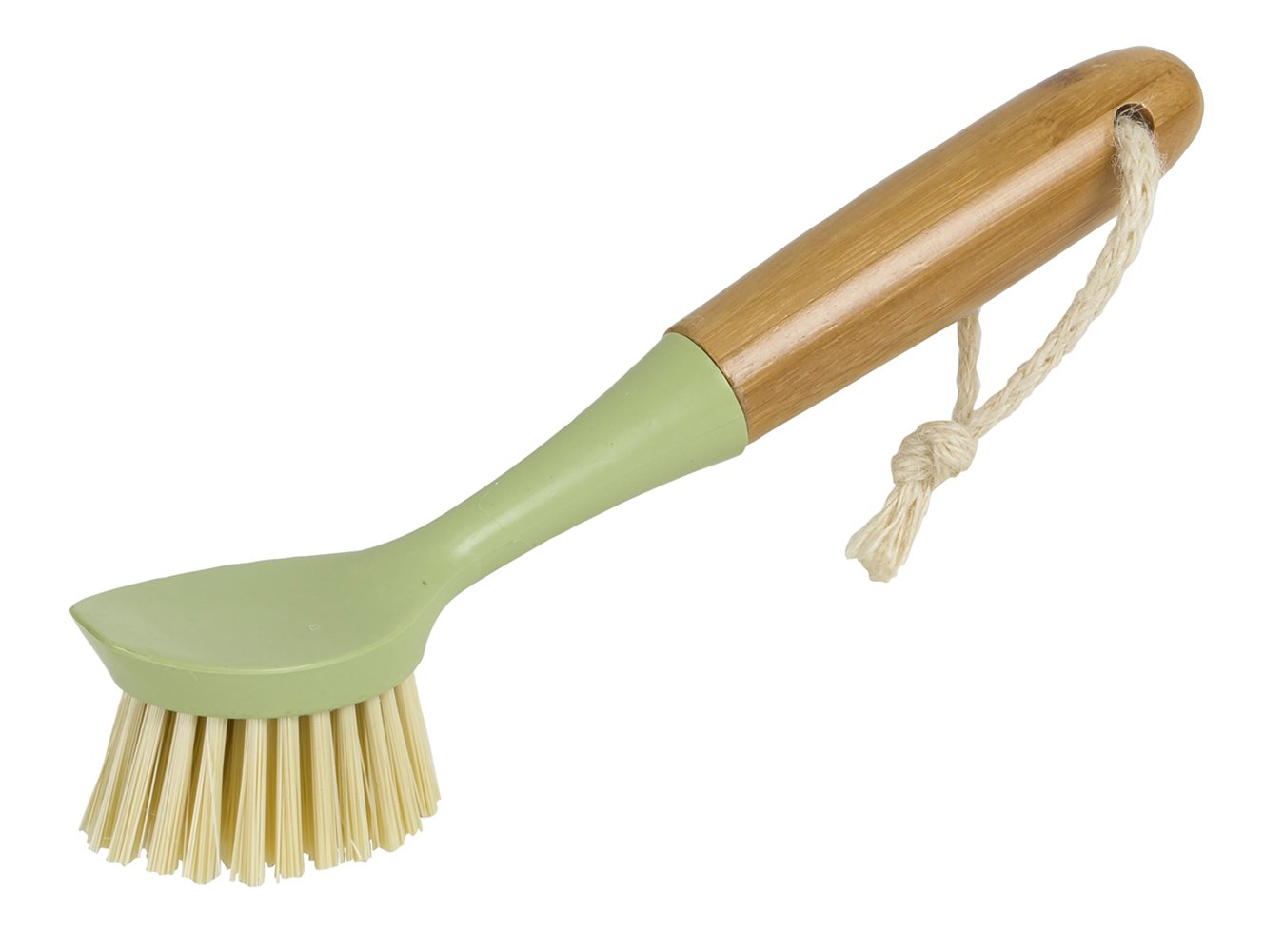 Evriholder Long Handle Brush Dish Scrubber with Built-in Food Scraper, Made of Sustainable Bamboo and Recycled Plastic