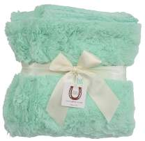 Max Daniel Luxe Mint Bunny Baby Throw - Double Sided - Piped Edge 1179