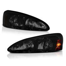 VIPMOTOZ Black Smoke OE-Style Headlight Headlamp Assembly For 2004-2008 Pontiac Grand Prix, Driver & Passenger Side