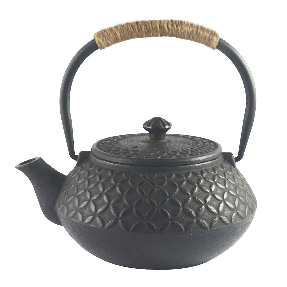 Hwagui - Best Chinese Cast Iron Teapot With Stainless Steel Tea Infuser For Loose Leaf Tea And Tea Bags, Black Tea Kettle 600ml/20oz