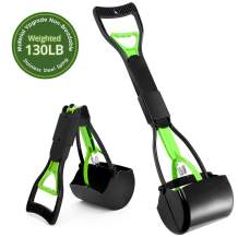 Pet Pooper Scooper, Foldable Pooper Scooper for Dogs with 24 Inch Long Handle, Premium Materials Poop Waste Pick Up Rake with Double Spring, 100% Seal Jaw Claw Bin Great To Grass, Dirt, Gravel Pick Up