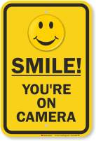 "SmartSign - K-8382-HI-12x18 ""Smile You're On Camera"" Video Surveillance Sign   12"" x 18"" 3M High Intensity Grade Reflective Aluminum Reflective 12"" x 18"" High Intensity Sign"