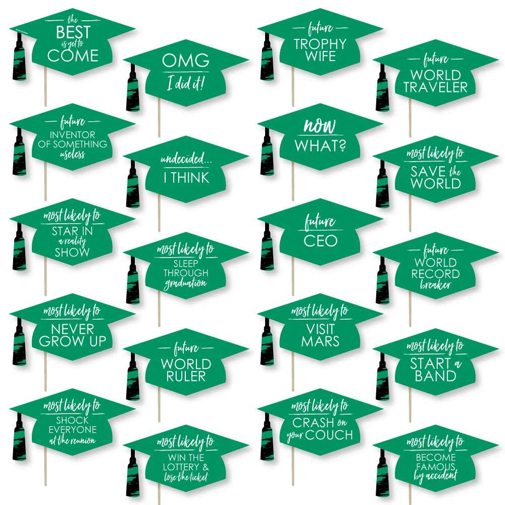 Big Dot of Happiness Hilarious Green Grad - Best is Yet to Come - Green Graduation Party Photo Booth Props Kit - 20 Count