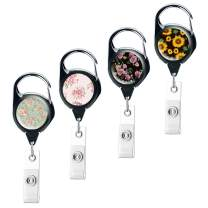 QIELIZI 4 Pack Heavy Duty Retractable Badge Holder Reel,Key Reel with Retractable Reel Clip On ID Card Holders (4-Rose Sunflower, 4 Pack)