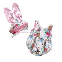 Xifamniy Easter Outfits Baby Girls Boys Bunny Romper Bodysuit Jumpsuit Infant Newborn with Rabbit Hat