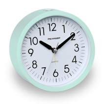 Peakeep Battery Operated Alarm Clock Silent Non Ticking, Gentle Wake, Increasing Alarm Clock Volume, Easy Set (Aquamarine)