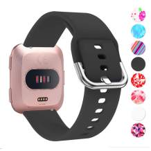 Moretek Versa Bands for Women, Replaceable Silicone Wristbands, Accessories for Fitbit Versa/Versa 2/Blaze Band (Black)