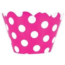 Just Artifacts Decorative Cupcake Paper Wrapper Muffin Holder - (40pc) Color: Fuchsia w/White Polka Dots - Decorations for Birthday Parties, Baby Showers, Weddings and Life Celebrations!