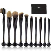 10 PCs Makeup Brushes Set Makeup Brush Set Synthetic Foundation Powder Contour Concealers Eye Shadows Premium Shell-shaped Handles Kabuki Brush with Makeup Bag (BLACK)