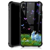iPhone Xs Max Case,Bunnies Colorful Butterfly iPhone Xs Max Cases for Girls,Tempered Glass Back Cover Anti Scratch Reinforced Corners Soft TPU Bumper Shockproof Case for iPhone Xs Max Romantic