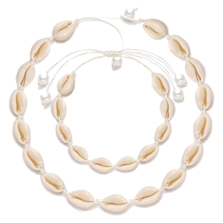 XOCARTIGE Puka Shell Choker Necklace Sea Shell Necklace Anklets Set Summer Beach Jewelry
