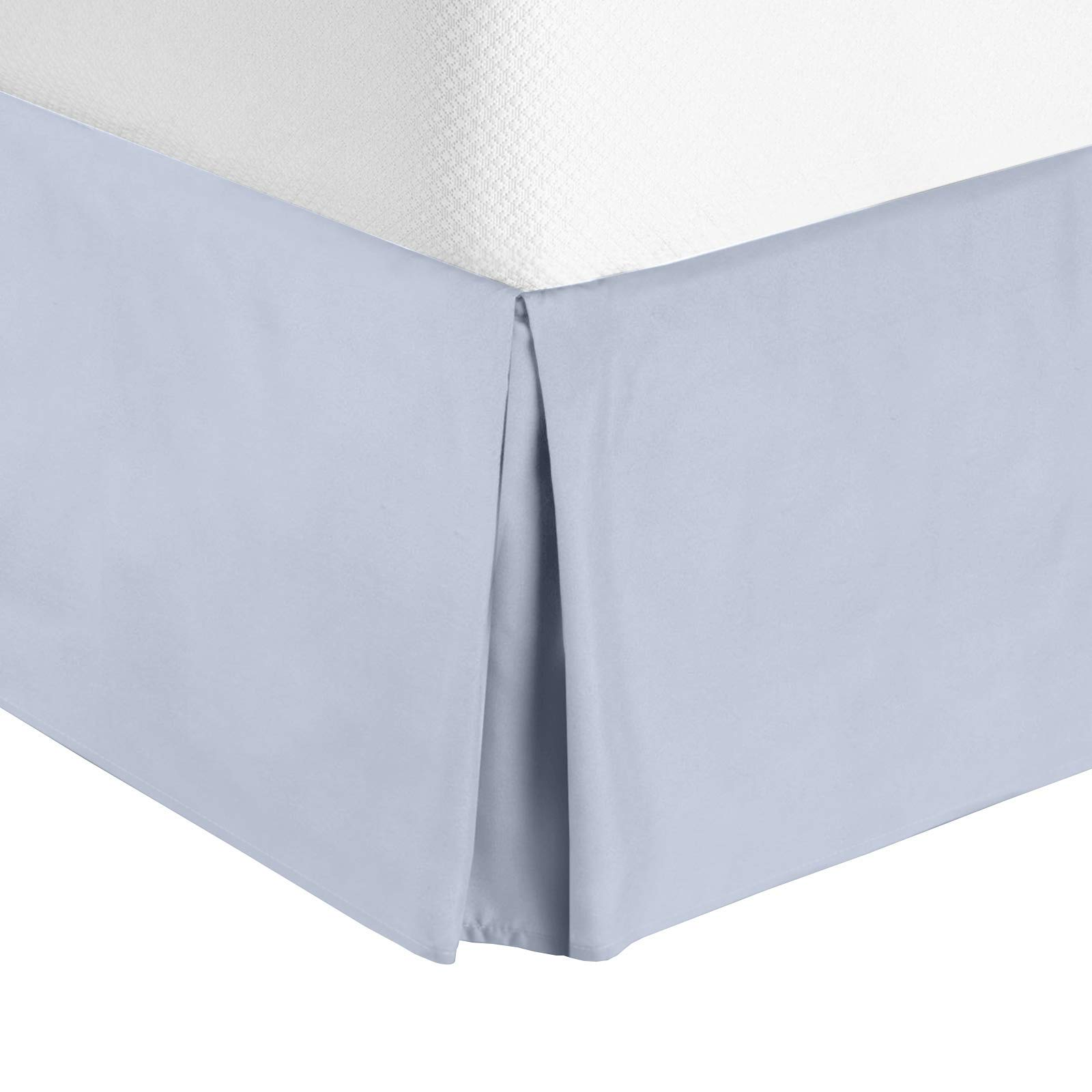 Nestl Bedding Bed Skirt - Soft Double Brushed Premium Microfiber Dust Ruffle - Luxury Pleated Dust Ruffle, Hotel Quality Sleek Modern Bed Skirt, Easy Fit with 14 in Tailored Drop, Queen, Ice Blue