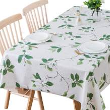 TruDelve Heavy Duty Vinyl Table Cloth for Kitchen Dining Table Wipeable PVC Tablecloth for Rectangle Table (54'' x 84'', Green Leaves)