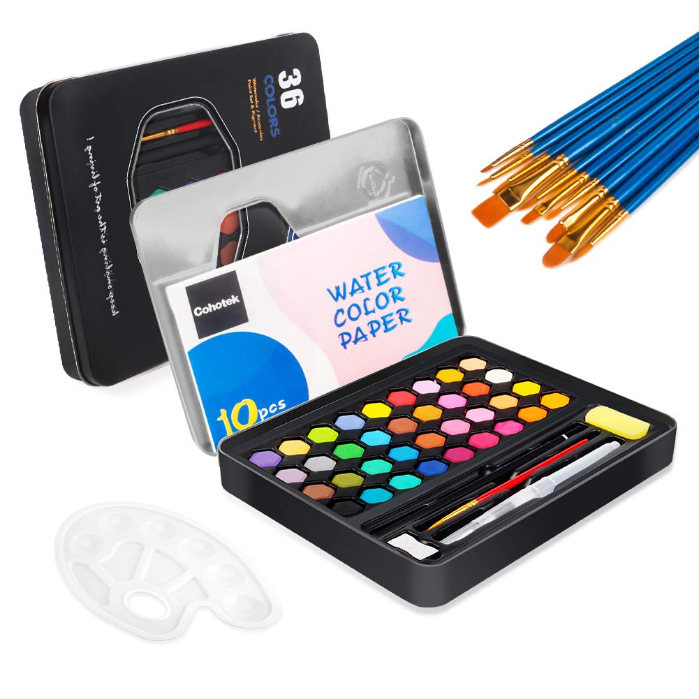 Cohotek Watercolor Paint Set with 36 Vivid Colors, Travel Watercolor Pan Set with Water Brush Pen, Watercolor Brush Set, Palette, Watercolor Papers etc. Watercolor Kit for Adults, Students, Beginners