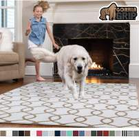 GORILLA GRIP Original Faux-Chinchilla Area Rug, 2.5 FT x 5 FT Super Soft & Cozy High Pile Machine Washable, Modern Rugs, Luxury Shag Carpets for Home, Nursery, Bed, Living Room, Links Beige White