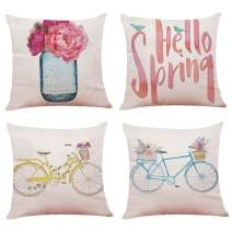 Youngnet Pack of 4 Spring Throw Pillow Cover Watercolor Flower Bicycle Decor Decorative Cushion Cases Floral Farmhouse Spring Decorations for Home 18x18 inch