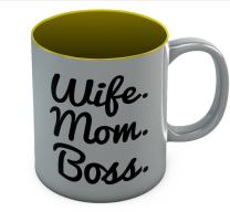 Wife Mom Boss Coffee Mug - Best Birthday Mother's Day Christmas Gift 11 Oz. Yellow