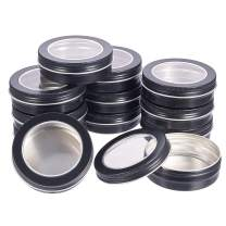 BENECREAT 14 Pack 3.4 OZ Tin Cans Screw Top Round Aluminum Cans Screw Lid Containers with Clear Window - Great for Store Spices, Candies, Tea or Gift Giving (Black)