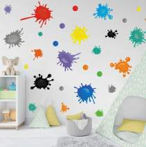 TOARTi Multicolor Paint Wall Decal, Splatter and Splotches Wall Sticker for Art Room Nursery Decoration, Watercolor Paint Splash Room Decor Ink Splotch Wall Stickers