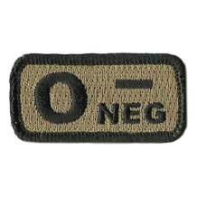 """Tactical Blood Type Patches -""""Type O Negative"""" - 2""""x1"""""""