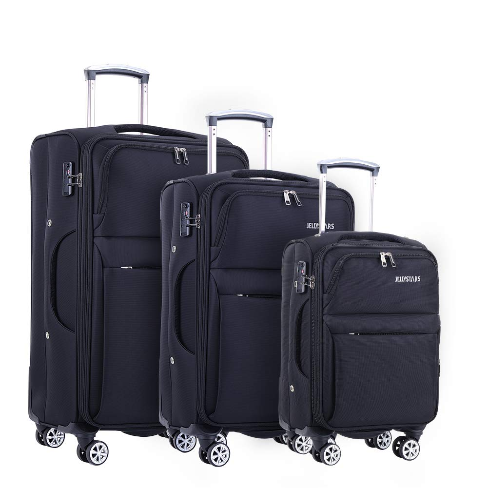 JELLYSTARS Updated 3 Piece Luggage Sets for Women Men Softside 360 Degrees Spinner Travel Suitcases with Wheels Rolling Suit Case Carry-On 20 inch 24 inch 28 inch Black Color