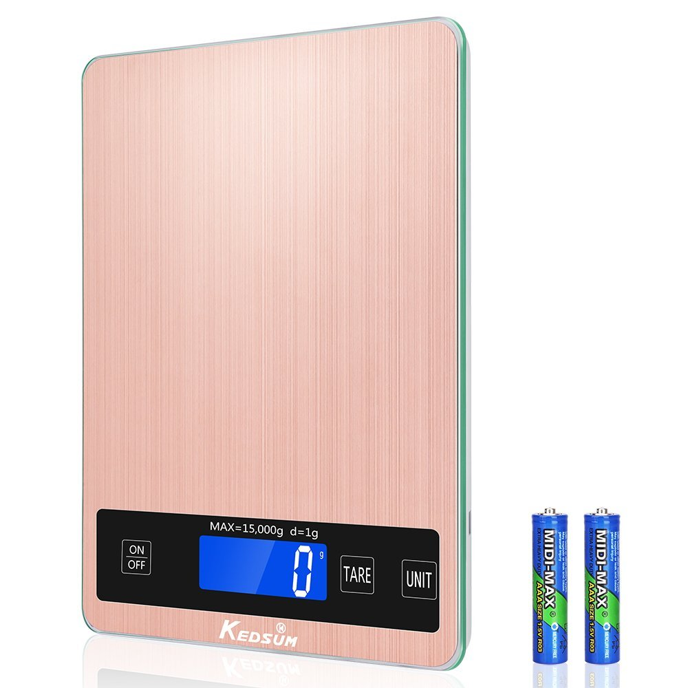 KEDSUM Food Scale, Digital Food Kitchen Scale, 33lb/15kg Multifunction cooking scale, Stainless Steel Anti-Fingerprint Brushed Platform with Water-Resistant Tempered Glass Surface(Rose Gold)