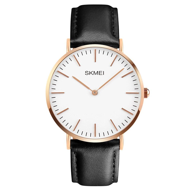 Men's Dress Wrist Quartz Watch with Black Leather Band - Men Business Waterproof Classic Casual Analog Watches Fashion Thin Case Wristwatch
