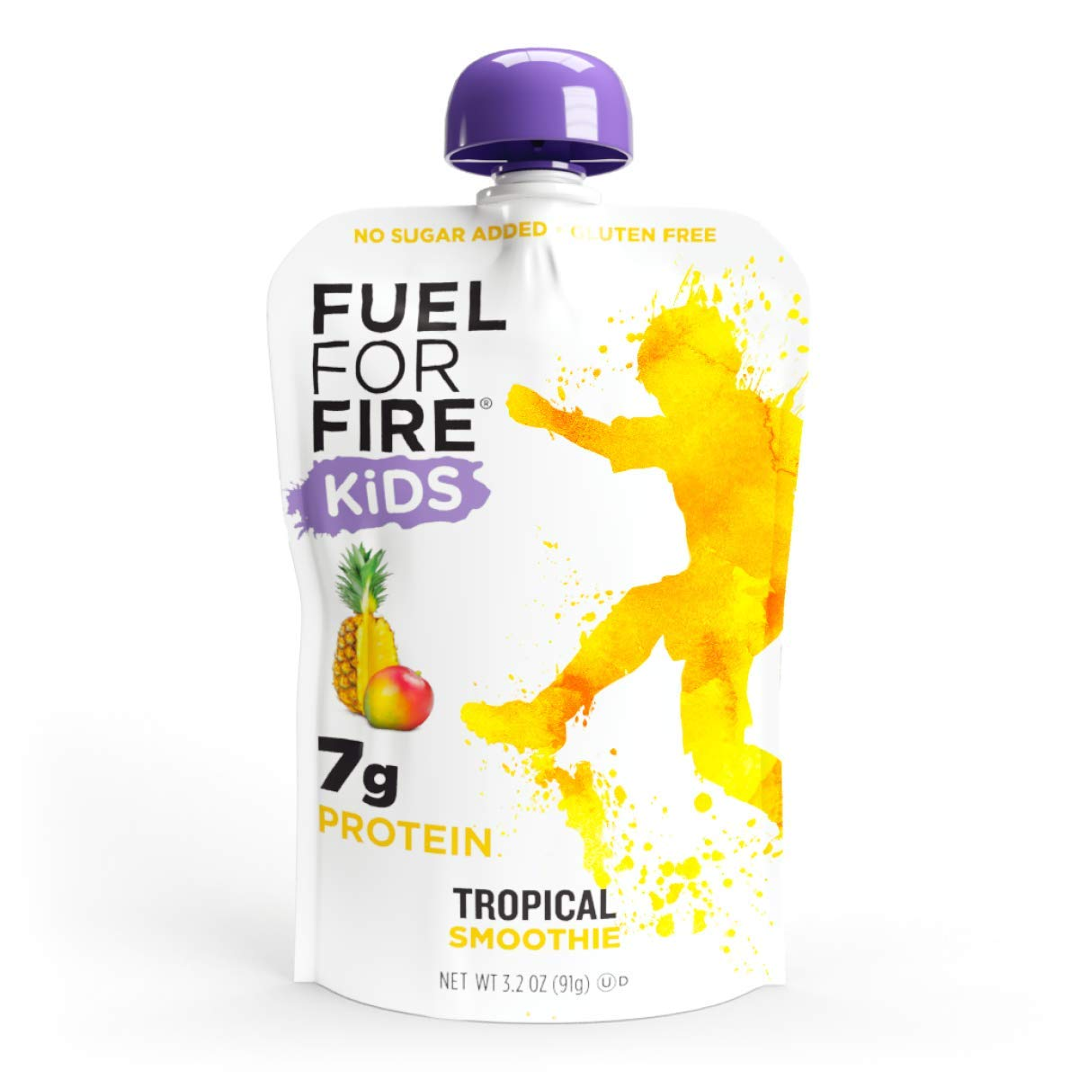 Fuel For Fire KIDS! Tropical (12 Pack) Real Fruit & Protein Smoothie Squeeze Pouch | Nutritionist Approved, Peanut Free, Ready to Eat Snack | Gluten Free, Soy Free | Less sugar than most applesauce