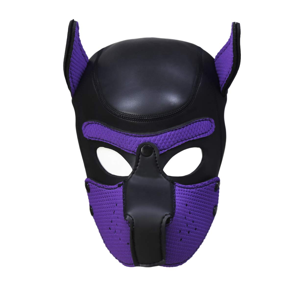 XuSha Neoprene Puppy Full Face Mask Dog Hood Pet Hat Removable Mouth Cosplay Party Props Animal Imitation (L + Purple)