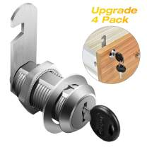 """Cabinet Locks, 4 Pack File Cabinet Locks, Keyed Different 1-1/8 Inch Cam Lock, Chrome-Plated Zinc Alloy, Fits on 1"""" Max Panel Thickness, Secure Your File Cabinet and Drawer, RV Door"""