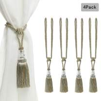BEL AVENIR 4 Pack Curtain Tiebacks Hand-Woven Crystal Holdbacks Home Decorative Tassels Tiebacks (Mix Blue, 4 Pack)