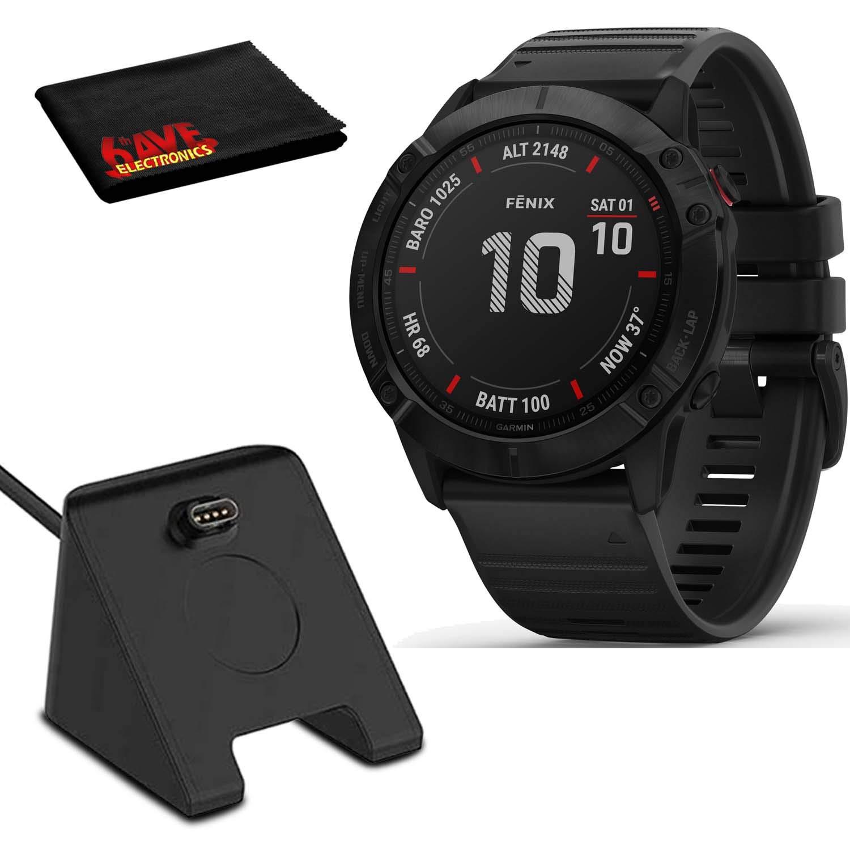 Garmin Fenix 6X Pro, Premium Multisport Smartwatch (Black/Black Band) PulseOx, PacePro, Maps, Spotify Music Includes Charging Stand
