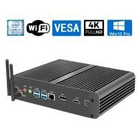 Mini Desktop PC/HTPC, Fanless Computer with Intel i7-8565U(up to 4.60GHz), 8G DDR4 |128G SSD |1T HDD, Support 4K, Dual Monitor, VESA, Office, WiFi, Win10 Pro