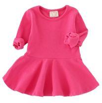EGELEXY Baby Girls' Long Sleeve Cotton Ruffle Top Dress