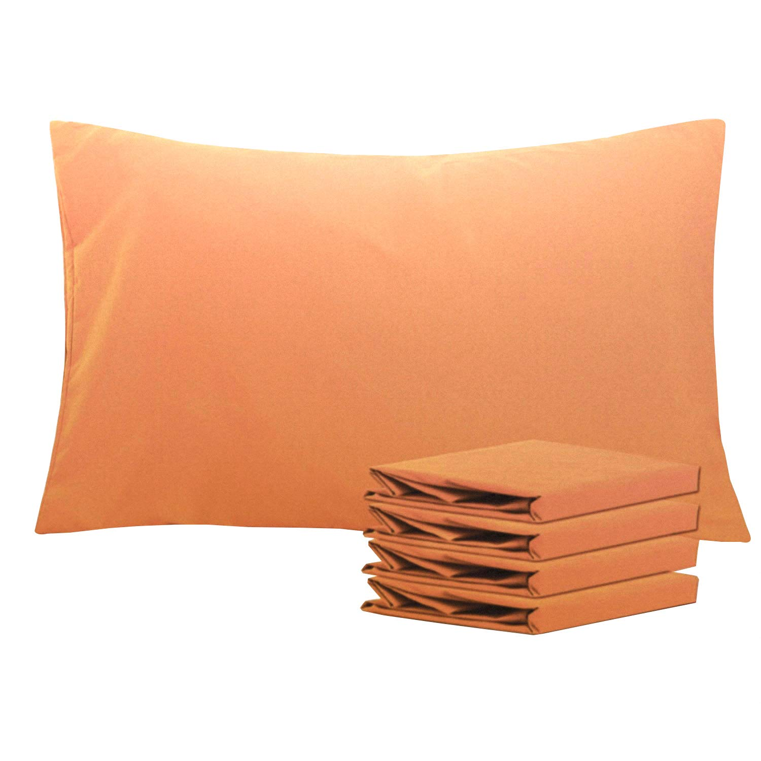 """NTBAY Queen Pillowcases Set of 4, 100% Brushed Microfiber, Soft and Cozy, Wrinkle, Fade, Stain Resistant with Envelope Closure, 20""""x 30"""", Pale Orange"""