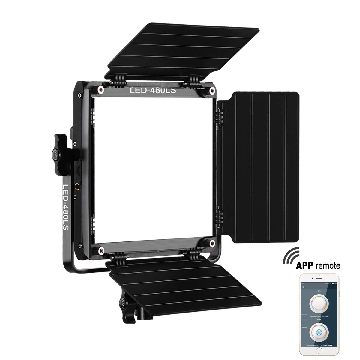 GVM 480 Led Bi-Color Video Light with APP Remote Control Variable CCT 2300K-6800K and 10%-100% Brightness with Digital Display for youtube Studio Photography Shooting with CRI97+ TLCI97 Camera Video L