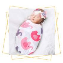 QTECLOR Newborn Receiving Blanket Headband Set - Unisex Soft Baby Swaddle Girl Boy Gifts (Elephant)