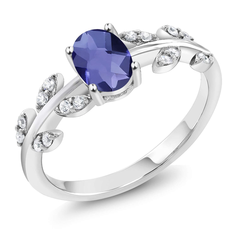 Gem Stone King 925 Sterling Silver 0.86 Ct Oval Checkerboard Blue Iolite Greek Olive Vine Branch Engagement Ring